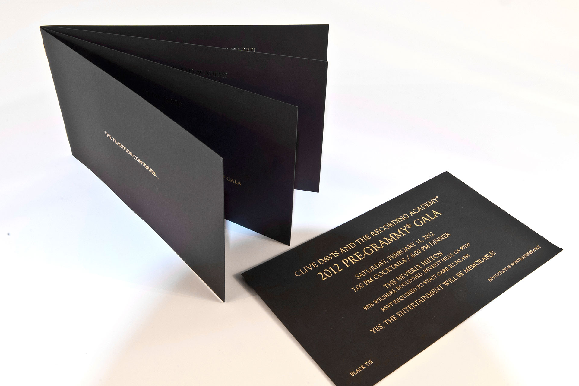 Custom printed event invitations announcements marketing materials gold foil on black card stock formal event invitation stopboris Image collections