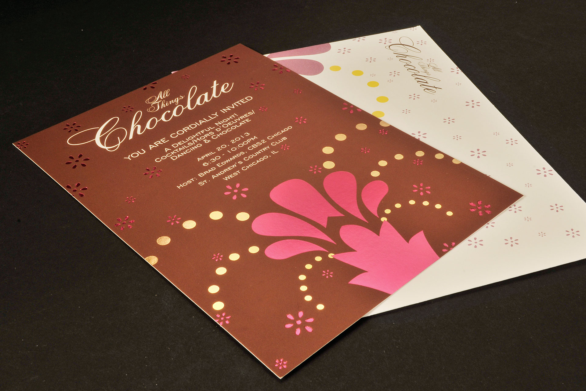 Spot Color Foil Stamped Event Invitation